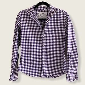 Frank & Eileen Button Down Shirt Purple White XS